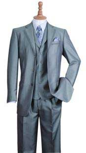 SS-65 Silver 3 Button Style Notch Lapel Fashion Suit