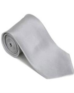 FD423 Silver 100% Silk Solid Necktie With Handkerchief