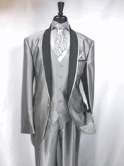 Product# RA74 Two Toned Grey Tuxedo Trimmed Jacket And