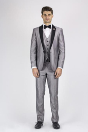 SM138 Bla ck and Silver SuitGrey Tux ~ Grey