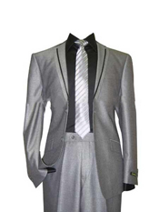 SM147 Grey Tuxedo Black and Silver Suit  Grey