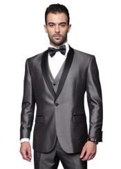 RM1530 Two Toned Lapel Single Breasted Solid Tuxedo Suit