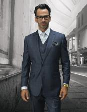 STZV-755 Mens Statement Plaid Grey 2 Button Single Breasted