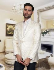 JSM-4866 Mens Big and Tall Single Breasted White Blazer