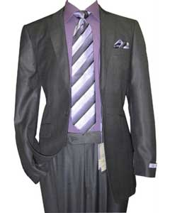GK74 1 Button Style Peak Lapel Sharkskin Dark Grey