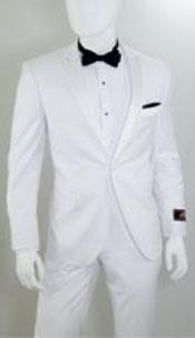 AP33K 1 Button Style Peak Lapel White 1920s tuxedo