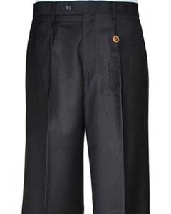 KA8879 Liquid Jet Black Single-pleat Dress Pants