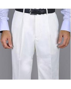 KA8880 White Single Pleat Pants
