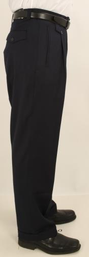 V4A1 Wide Leg Single Pleated Slacks Pants Solid Navy