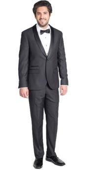 GD1781 Mens Single Breasted Black Slim Fit Tuxedo with