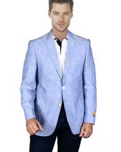 AA393 Light Sky Baby Blue Mens 2 Piece Linen