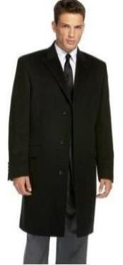 Coat777 Liquid Jet Black Slim narrow Style Mens overcoat