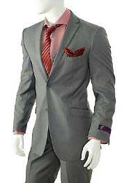 AC-931 Solid Gray Slim narrow Style Fit Suit Center