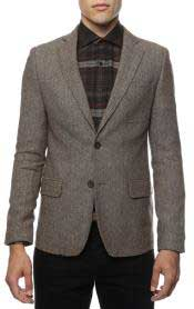 SS-8155 Slim narrow Style Fit Tweed houndstooth patterned Blazer
