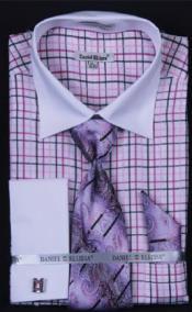 AC-460 Small Checker Dress Fashion Shirt/ Tie / Hanky