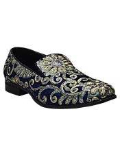 SM5128 Mens Gold & Silver Embroidered Design Slip On