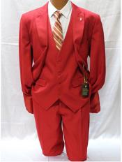 JSM-1896 Mens Falcone Vett Classic Fit Solid Vested Red
