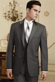 QY80L Dark Grey Masculine color Grey~Gray Tuxedo Vested 3