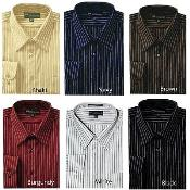 PN90 Classic Stylish Contrast Stripes Dress Shirt Style Multi-color