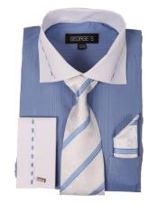 AA417 Men's Dress Shirt Set with White Collar and