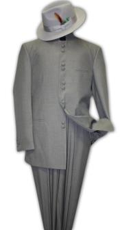 RT9900 Solid Color Gray no collar mandarin Collar 2PC