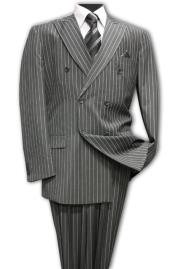 DarkGreyMasculinecolorClassicDoubleBreastedSuitwith