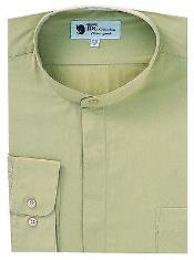 AA415 Dress Shirt with no collar mandarin Collar TanRed