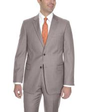JSM-6073 Mens Tan Single Breasted 2 Button Wool Classic