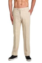 AA467 Linen Dress Pants Trousers Flat Front Slacks Natural