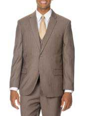 Italy Pinstripe Vested Suit Tan