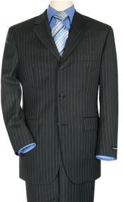 ZR3199 premier quality italian fabric Liquid Jet Black Pinstripe