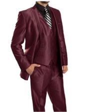 mens Single Breasted Sharkskin Burgundy