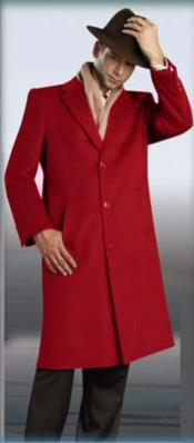 "5V4G red color shade overcoats outerwear 45"" Single Breasted"