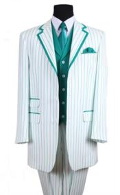 PN_B63 3 Button Style Single Breasted 35 Inch White/Turquoise