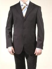A63_3P Liquid Liquid Jet Black 3 Button Style Suits