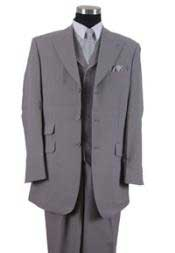 YU40X 3 Button Style Peak Lapel Vested 3 Piece