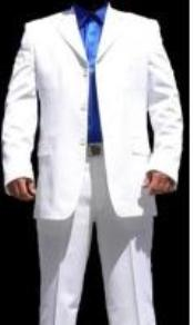 HY7629 3 Button Style White Suit ( Jacket and