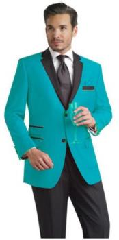 JSM-2451 Mens Slim Turquoise & Black Lapel Tuxedo Dinner