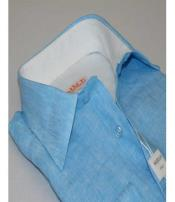 SD311 Inserch Mens Button Front Linen Long Sleeves Collar