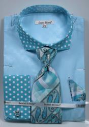 SD17 Turquoise Polka Dot Dress Shirts French Cuffed Matching