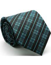 Premium English Striped Ties Turquoise