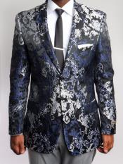 JS385 Mens Floral ~ Paisley Blazer Black and Silver