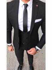 MO582 Slim Fit 2 button Black Suit With Double
