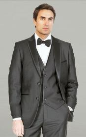 YAN231 Liquid Jet Black Framed Notch Lapel with Vest