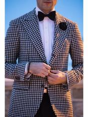 Two Button Designed Peak Lapel Black ~ White Blazer