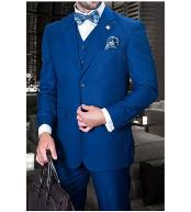 JSM-1252 Mens Statement 2 Button Sapphire Blue 3 Piece