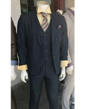 JSM-4933 Denim 2 Button Suit Vested Notch Lapel Flat