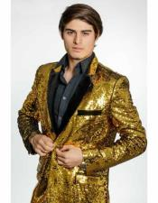 JSM-3123 Mens 2 Button Gold Sequins Velvet Lapel Single