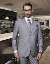 Classic3PC2ButtonStyleGrayPinstripeAthleticCut