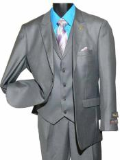 SD174 Mens Gray Two Button Single Breasted Peak Lapel